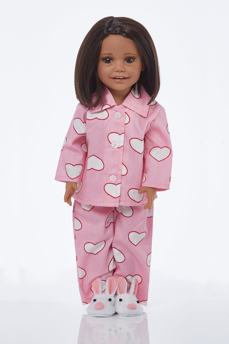 Pink heart snuggle pyjamas with bunny slipper mules