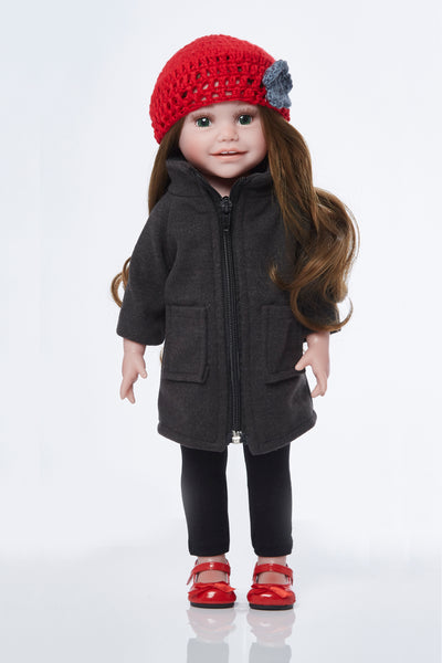 Funnel neck coat and beret 4 piece set.