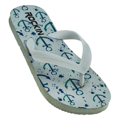 ROCKIN ANCHOR Kids Flip Flops  R-K198 (White)