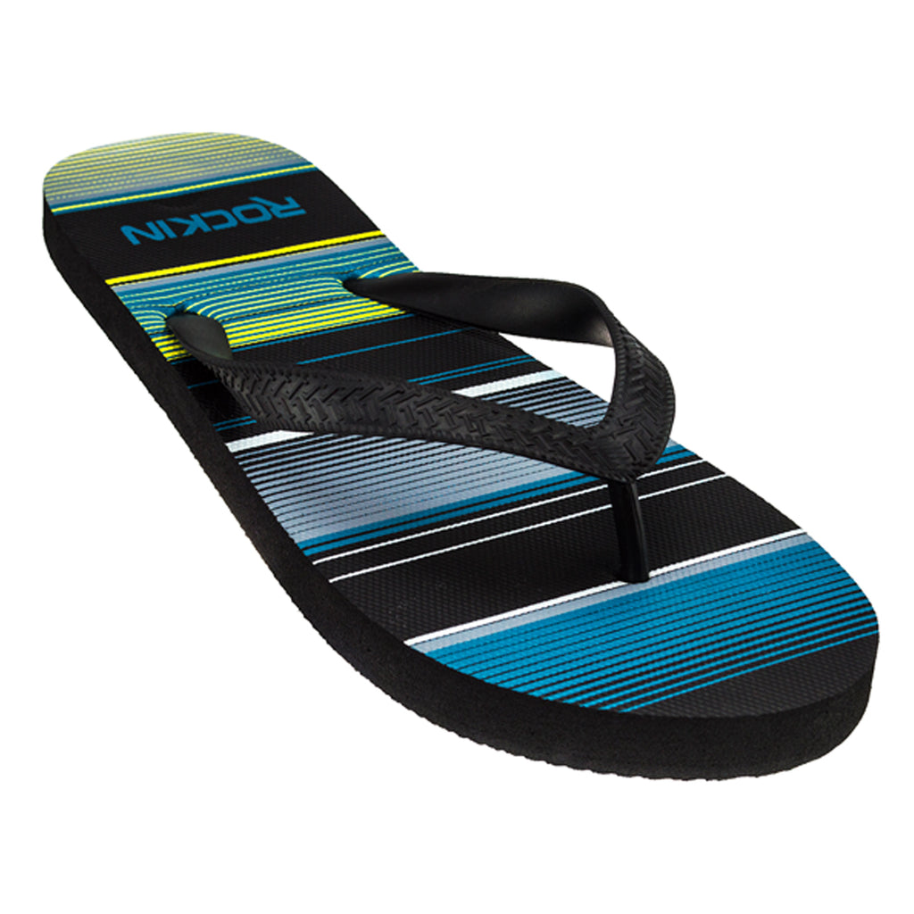 ROCKIN STRIPED STEP Men's Flip Flops  R-M203, Black