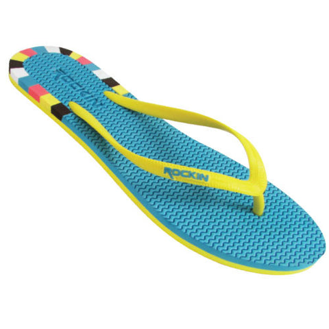 Block, TEAL & YELLOW, Women Flip Flops, RK-L102Y