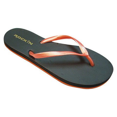 Color Combos, BLACK ORANGE, Women Flip Flops, RK-LC4