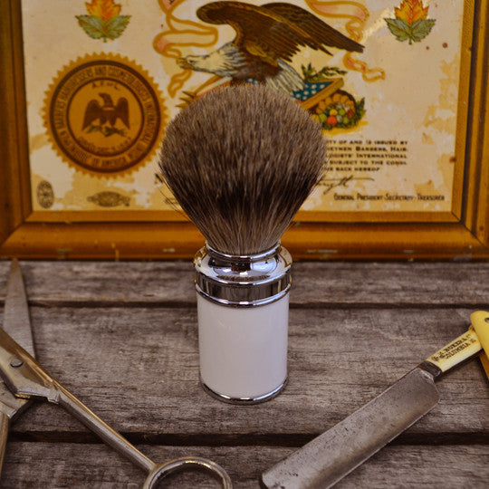 Muhle White Chrome Handle Shave Brush