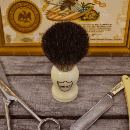 Parker White Handle Shave Brush