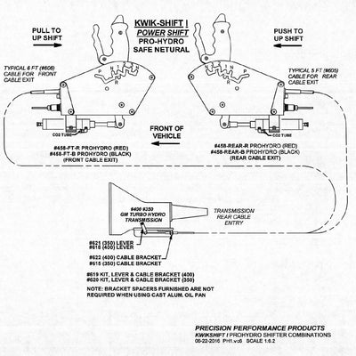 precision performance kwikshift 1 air shifter th400 3 spd reverse rh prolineracing net 93 Chevy K1500 Transmission Mount Diagram TH400 Exploded View Part List
