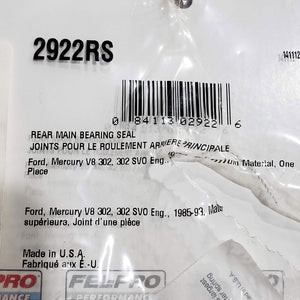 NEW FELPRO 2922RS REAR MAIN SEAL FOR FORD 302