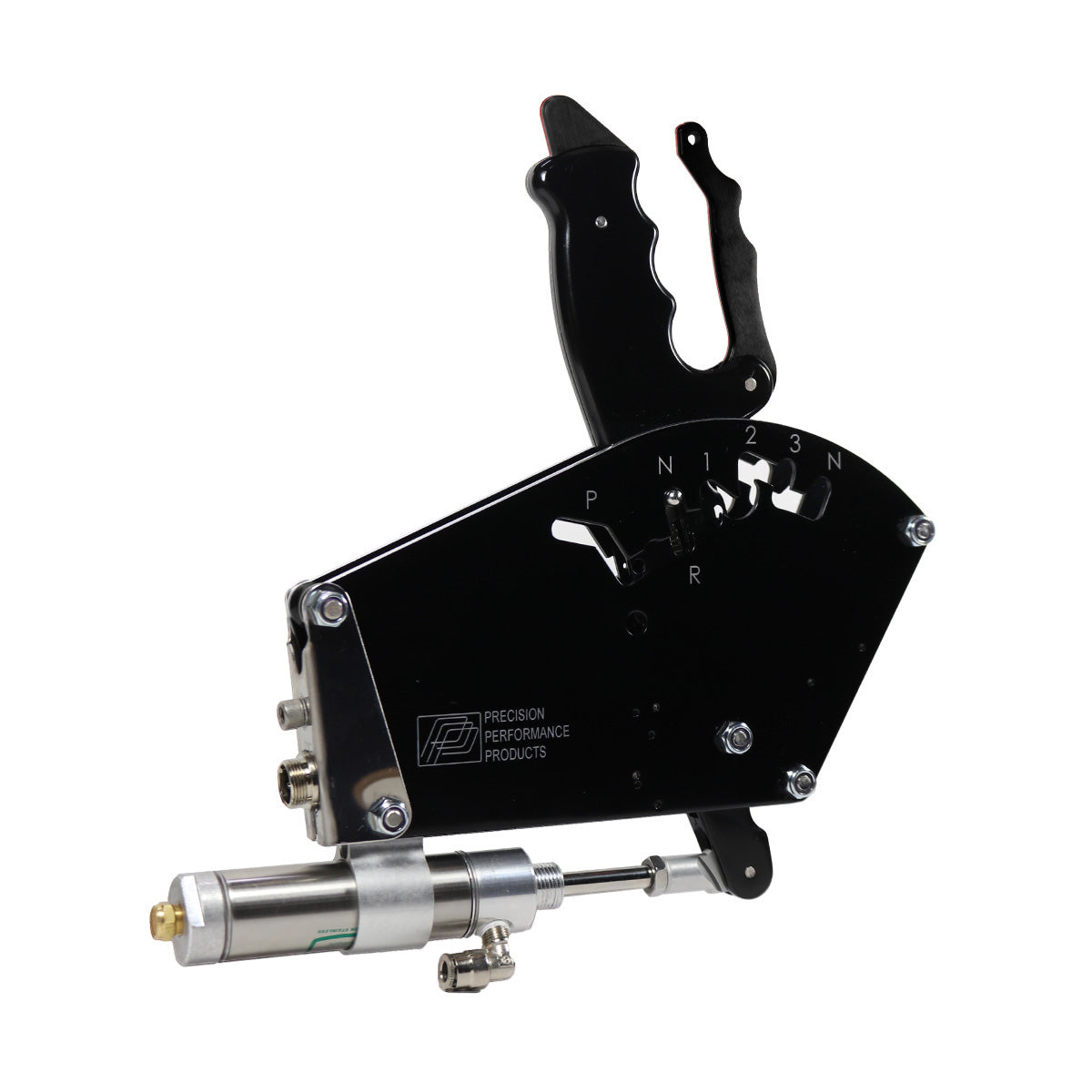PRECISION PERFORMANCE KWIKSHIFT-1 AIR SHIFTER TH400 3 SPD REVERSE PATTERN, CLEAN NEUTRAL, REAR CABLE EXIT, BLACK