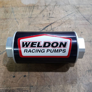 NEW/OPEN BOX WELDON BILLET FUEL FILTER -12AN WITH 100 MICRON STAINLESS STEEL ELEMENT
