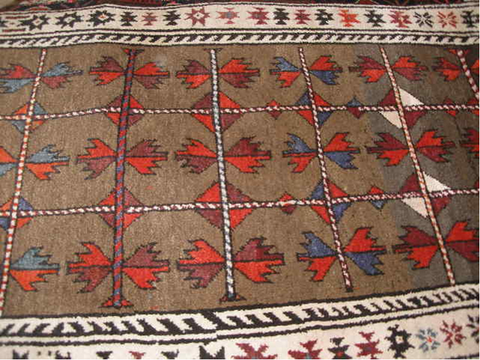ANTIQUE BALUCH AFGHAN 3x5