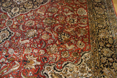 antique silk qoum rug 9x12
