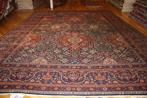 "KASHAN MOHTASHAM  9'5""X14'7"" ANTIQUE"