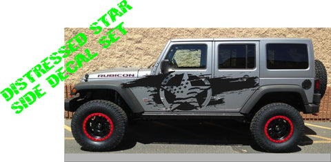 distressed flag star jeep decal