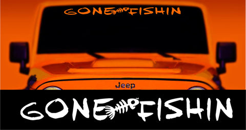 gone fishing bone fish decal windshield banner sticker jeep wrangler size