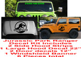Jurassic Park Ranger complete Jeep decal kit 6 pieces