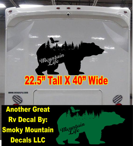 Mountain Life Bear and eagle in woods RV decal