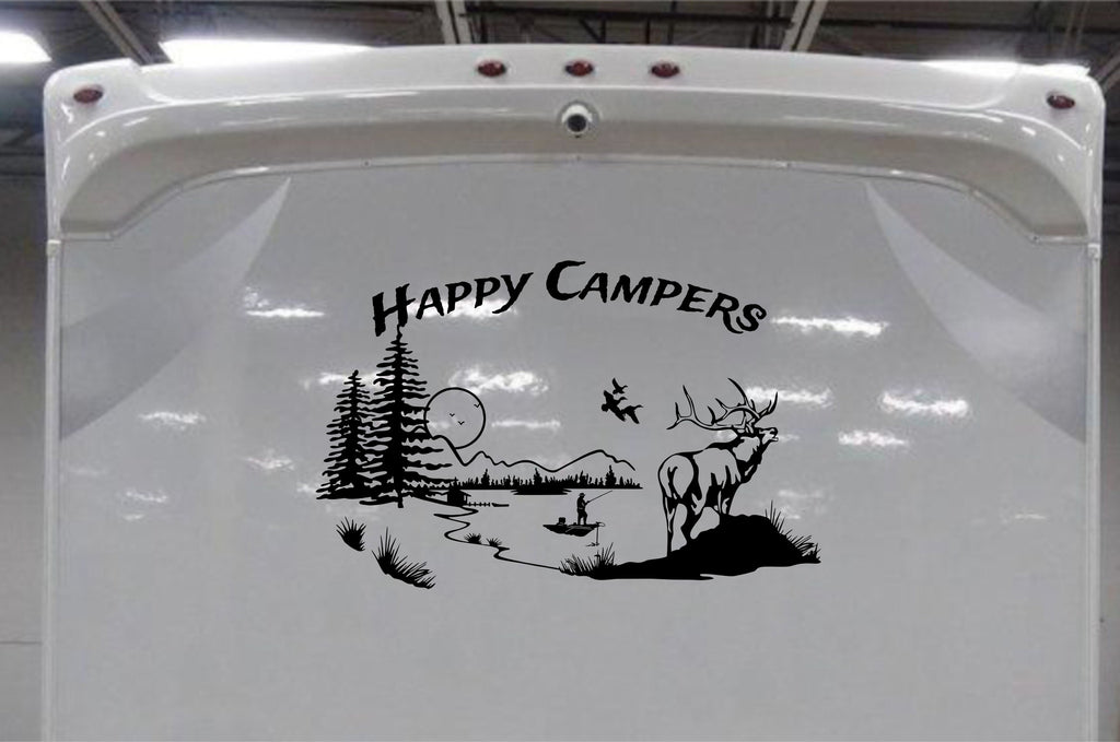 Elk Mountain Scene Decal With Fisherman For RV & Travel Trailer