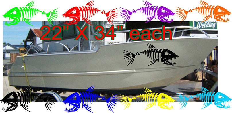 Boat decal including bone fish