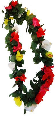 Hibiscus Multi Col Lei w/Leaves Deluxe - Red Top Box