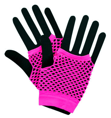 Short Fishnet Punk Gloves - Neon Pink - Red Top Box