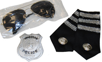 Police Kit - Glasses, Epelets and Badge - Red Top Box