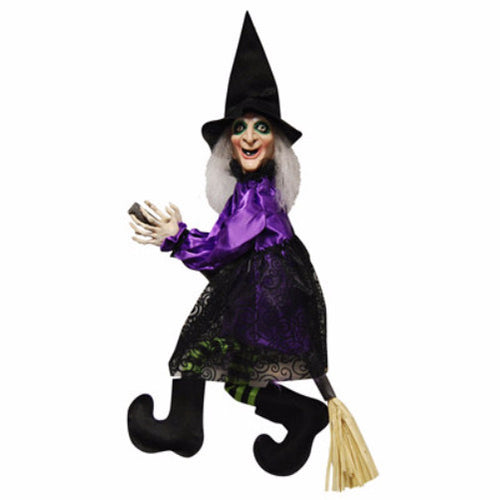 Animated Flying/Talking Witch on Broom - halloween - Red Top Box