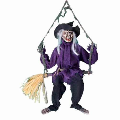 Animated Swinging/Talking Witch on Broom - halloween - Red Top Box