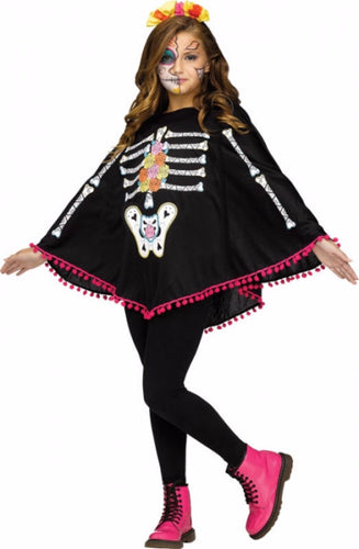 Child Skeleton Poncho - Day of the Dead - Red Top Box