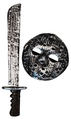 Hockey Mask & Machete Set - Red Top Box