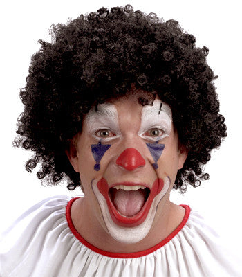 Curly Clown Wig - Black - Red Top Box