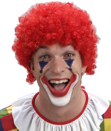 Curly Clown Wig - Red - Red Top Box