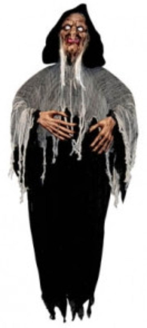 Hanging Old Witch w/White Shining Eyes - halloween - Red Top Box