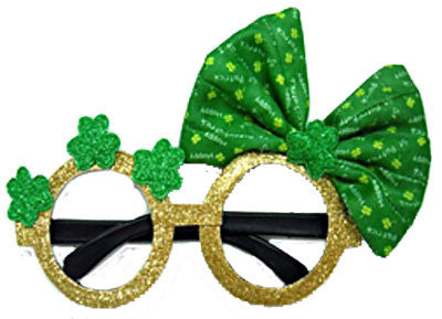 St Patricks Day Glasses - Cute Bow - Red Top Box