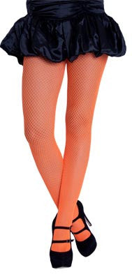 Neon Fishnet Tights - Orange - Red Top Box