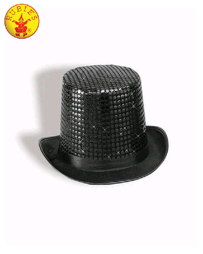 Black Sequin Top Hat For Adults