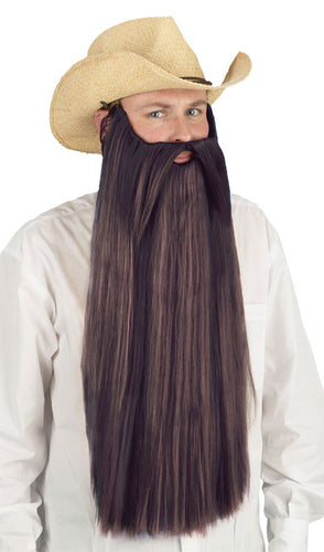 Extra Long Beard w/Mustache - Brown - Red Top Box