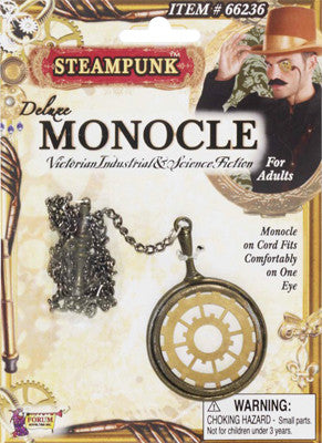 Deluxe Steampunk Monocle - Gold & Brass - Red Top Box