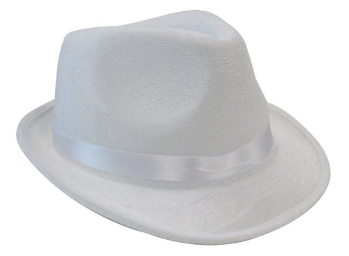 Deluxe Fedora Gangster Hat - White - Red Top Box
