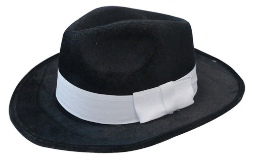Deluxe Velour Gangster Hat - Black - Red Top Box