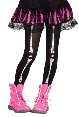 Child Footless Tights - Crackle Bones