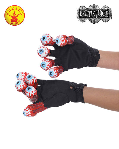 Beetlejuice Gloves With Eyeballs - Red Top Box