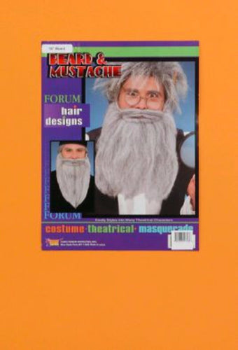 Beard And Moustache - Grey 14 Inch - Brisbane Costumes
