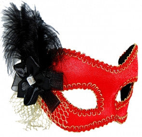 Masquerade Mask - Red w/Black Feather - Red Top Box