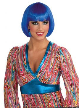 Blue Bob Wig Adult - Brisbane Costumes
