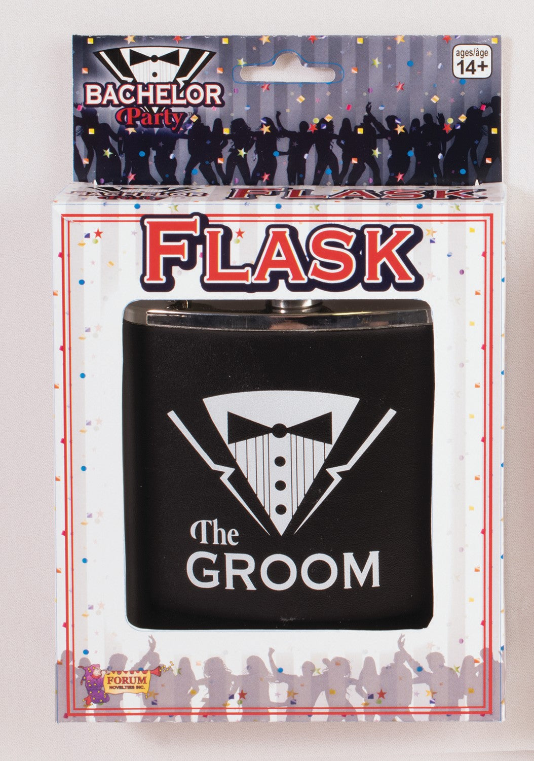 Bachelor Party Flask - Groom - Red Top Box