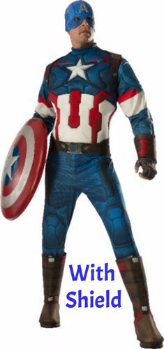 Captain America Deluxe Adult Costume WITH SHIELD - Red Top Box - 1