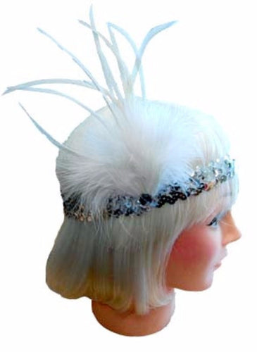 20s Flapper Headband - White/Silver - Red Top Box