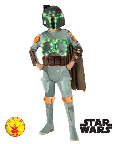 Boba Fett Star Wars Deluxe Light-Up, Child - Supanova - Oz Comic Con - Star Wars Licensed - Red Top Box