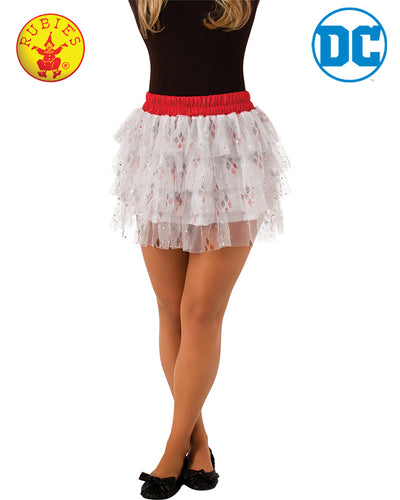 Harley Quinn Skirt With Sequins Teen - Size Std - Red Top Box