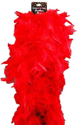 Deluxe Plush Turkey Boa 1.8m - RED - Red Top Box