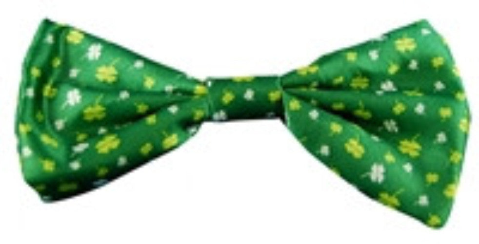St Patricks Day Bow Tie - Green w/Print - Red Top Box